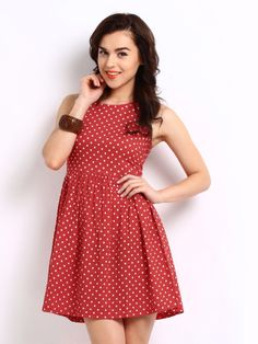 DressBerry Red Retro Polka Dot Print Flare Berry Dress