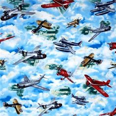 Wingman Smithsonian Vintage War Planes in the Clouds Cotton Fabric