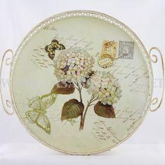 """Vassio contenitore in latta decoupage fiori """"Begonia"""" - CasaBottega"""