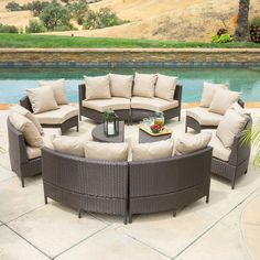 The circular shape of this outdoor lounge set allows for a wide variety of seating arrangements on your patio. Perfect for conversation, this sectional wicker lounge set by Christopher Knight Outdoor Sofa Sets, Outdoor Lounge, Diy Outdoor Furniture, Lounge Seating, Patio Furniture Sets, Furniture Deals, Outdoor Living, Garden Furniture, Farmhouse Furniture