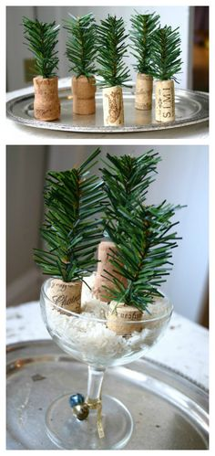 Clippings from artificial garland are stuck into wine and champagne corks to make these tiny evergreen trees