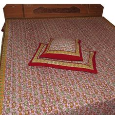 Red Bed Sheet Pillow Case Set Handmade Cotton Floral Block Printed Design from India Queen Size