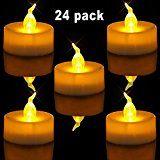 Homemory Lot de 24 Lumières Bougies à LED, Sans Flamme, Réaliste et Bright, Puissance de la Batterie, Fausses Bougies électriques pour Votive, Table Party Anniversaire Mariage(jaune clair)
