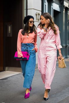 LFW Street Style - peach + fuchsia on jeans love + pink