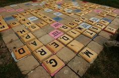 site has large & small version of lawn scrabble (large 'board' can be used for patio table/chairs/benches), and lawn jenga Diy Patio, Patio Table, Patio Ideas, Outdoor Fun, Outdoor Decor, Outdoor Games, Small Covered Patio, Modern Patio Doors