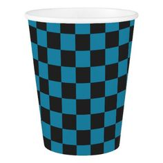 Teal Blue and Black Checkerboard Pattern Paper Cup - birthday gifts party celebration custom gift ideas diy