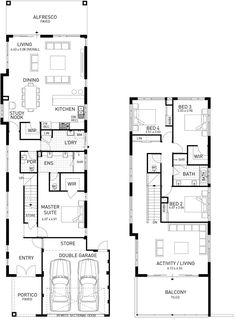 Two Storey Home Designs. Two Storey House Plans, Narrow House Plans, Beach House Plans, Modern House Plans, House Floor Plans, Modern Houses, Duplex House Design, Modern House Design, House Plans Australia