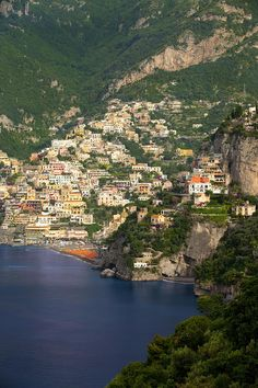 View along the Amalfi coast of the hillside town of Positano, Italy