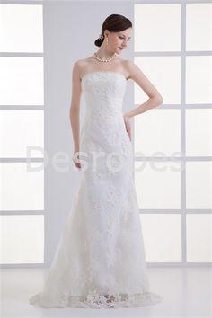 Robe de mariée traîne balayée en dentelle/satin sans bretelles 2014