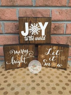 Christmas Wood Block Set Trio