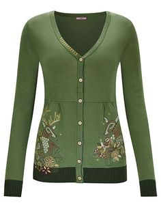 14b43a53cbd7 Embroidered Cardigan with Contrast Cuffs by Joe Browns