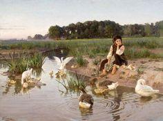 Ukrainian Girl Tending Geese