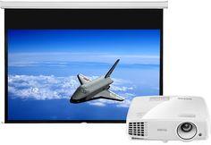 """Projektor med DLP-teknologi, 90"""" manuell projektorduk, Bra bild med 3300 ANSI Lumen"""