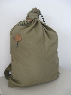 Vintage Green Army Canvas Backpack Military by OldTraditions, $15.00