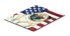 USA American Flag with Pug Mouse Pad, Hot Pad or Trivet