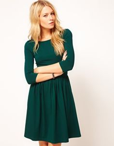 Enlarge ASOS Skater Dress With Slash Neck / Love everything about this. ESPECIALLY the colour.
