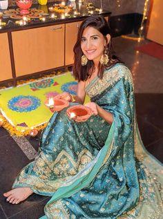 Katrina, Janhvi's AMAZING colours. Anushka glows! - Rediff.com movies Manish Malhotra Designs, Traditional Photographs, Diana Penty, Festival Lights, Diwali, Bollywood Actress, Pretty Woman, Lady In Red, Lehenga