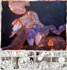 Pierre Alechinsky Le complexe du sphinx, 1967,  acrylique et encre sur toile et papier, 160 x 151,5 cm,  New York, The Museum of Modern Art,  Gift of Mary A. Gordon, 1976