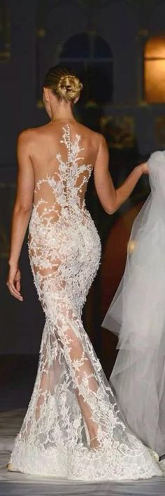 White Lace Evening Gown - Sexy back!