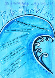 'Ride the wave' DBT Diary Art journal by Michelle Morgan. For Addiction and Addiction with Co-Occurring Eating Disorder Treatment, Contact Futures of Palm Beach 24/7 at (866) 338-6664 #HopeSharedHere