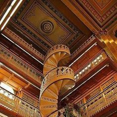 Stairs in a law library in Iowa.