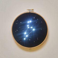 Pre order Leo Zodiac Star Constellation Embroidery Hoop Art