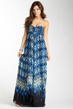 Strapless Printed Maxi Dress, Laundry by Shelli Segal