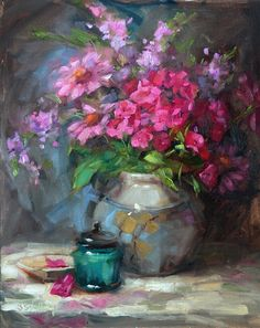 """""""Ruby Phlox"""" - Original Fine Art for Sale - © Barbara Schilling Paintings I Love, Love Painting, Beautiful Paintings, Still Life Flowers, Oil Painting Flowers, Arte Floral, Love Art, Painting Inspiration, Graffiti"""