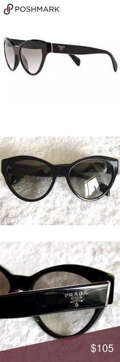 NWT - PRADA SPR08S Cat Eye Sunglasses Authentic PRADA Sunglasses 100% Genuine, Brand New Style: PRADA SPR08S Cat Eye BLACK FRAMES / GRAY GRADIENT LENS Size: Lens 55mm, Bridge 17mm, Temple 140mm MADE IN ITALY BNWT - Never Worn - No Flaws REASONABLE offers welcome Prada Accessories Sunglasses