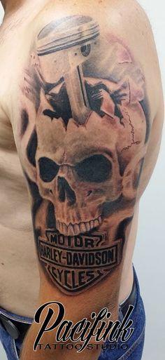 Tattoo by Mick Skull Tattoo #tattoo #blackandgrey #skull #harleydavidson #piston #pacifink for bookings go to www.pacifink.com.au