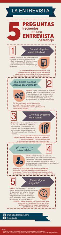 Preguntas frecuentes en la entrevista de trabajo. #infografia #infographic #empleo #trabajo #entrevista
