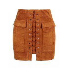 Choies Brown Faux Suede Lace Up Front Pencil Mini Skirt
