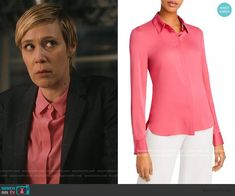 Bonnie's pink blouse on How to Get Away with Murder Annalise Keating, Liza Weil, Knit Blazer, How To Get Away, Other Outfits, Plaid, Fashion Outfits, Blouse, Pink