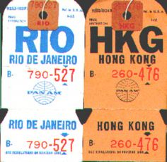 Baggage tags - 1960's-70's.