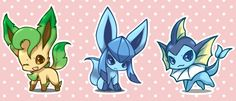 Vaporeon, Glaceon and Leafeon