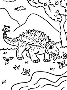 Ankylosaurus, : Ankylosaurus Dinosaurus is Eating Coloring Page Online Coloring Pages, Coloring Sheets, More Pictures, Eat, Free, Colouring Sheets, Printable Coloring Pages