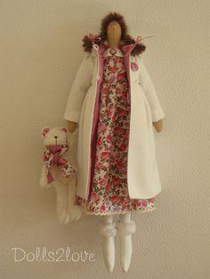 Tilda doll Abigail wearing a liberty fabric dress an by Dolls2love