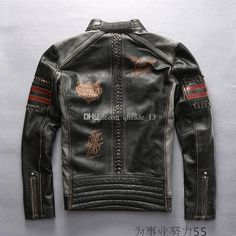 Avirex men genuine leather jackets American customs motor club embroidery multi-standard hand-woven cowhide motorcycle vintage jackets
