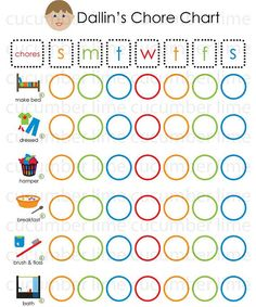 I make these!  I would love you could repin.  Chore Chart.  PDF printable.  You pick six chores (with picture), a custom face to look like you child and name on top!