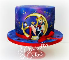 Sailor Moon Cake by Clairella Cakes #anime #SailorMoon #airbrushed #handpainted #galaxy #cake