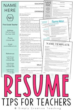 Land your ideal teaching job, whether it's your first year and you have no experience or you just want to update your teaching portfolio, these editable teacher resumes are unique and stand out! The design of each resume template for teachers is simple and creative, and the design ideas included are the perfect way to showcase your skills. These editable resumes can work for elementary, middle, or high school teachers - even special area teachers or special education teachers.
