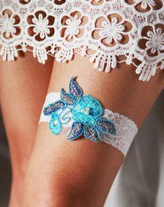 Bridal Garter Wedding Garter - Blue Garter Belt - Something Blue Garter Vintage Inspired Lace Garter Rustic Garter