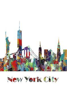New York City Skyline Art Print Contemporary Abstract Art with My Artwork 5 Designs Avail.