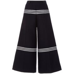 Baum und Pferdgarten Nayoko Pants ($315) ❤ liked on Polyvore featuring pants, highwaist pants, high rise pants, horizontal striped pants, high waisted trousers and flare leg pants