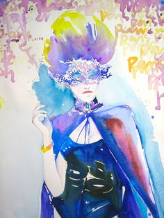 Watercolor Painting - Fashion Illustration  - Paris Vogue Costume Ball. $200.00, via Etsy.
