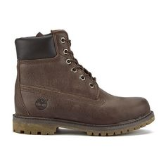 Timberland Women's 6 Inch Premium Leather Boots - Dark Brown... ($250) ❤ liked on Polyvore featuring shoes, boots, brown, flat boots, waterproof boots, genuine leather boots, brown flat shoes and brown boots