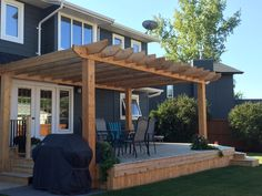 Pergola was built late summer/fall - can't wait to add new furniture in spring. Made from rough cut cedar.