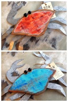 Recycled Wood Crab Art