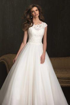 2014 Wedding Dress A Line Bateau Neckline Lace Bodice With Tulle Skirt Cap Sleeve