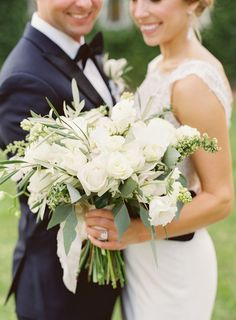 Classic ivory and greenery wedding bouquet: http://www.stylemepretty.com/2016/09/07/italian-inspired-hotel-wedding-in-texas/ Photography: Mint - http://mymintphotography.com/